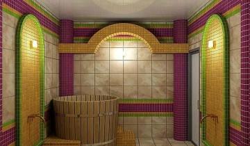 Отделка бани керамической плиткой