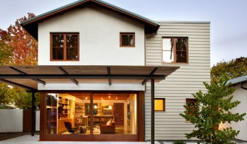 Вариант комбинированной отделки фасада дома