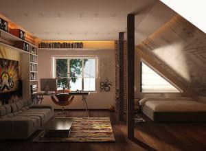 Фотография кровати у парапета мансарды, yakusha.com.ua