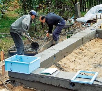 Процесс бетонирования фундамента, accbud.ua