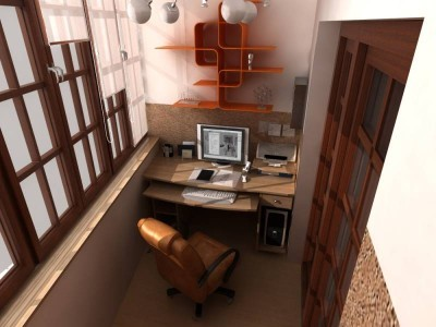 На фото обустройство балкона под кабинет