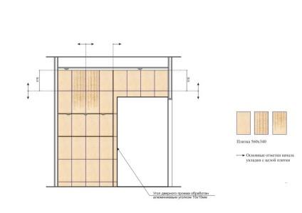 На фото детальный план укладки плитки в ванной
