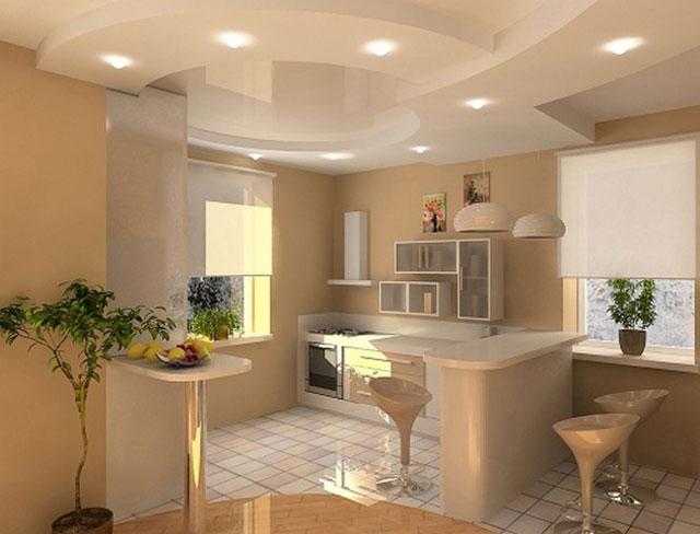 На фото подвесной потолок на кухне