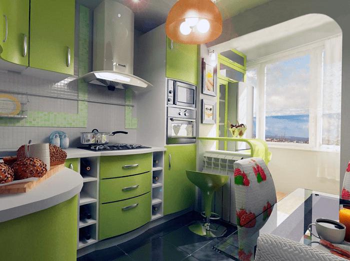 На фото обьединенная кухня с лоджией
