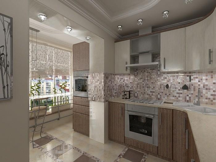 Фото обединенной кухни с лоджией