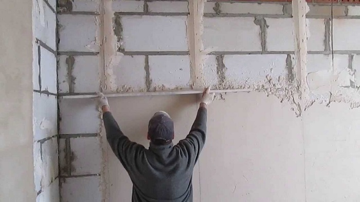 Фотография штукатурки стен из газобетона