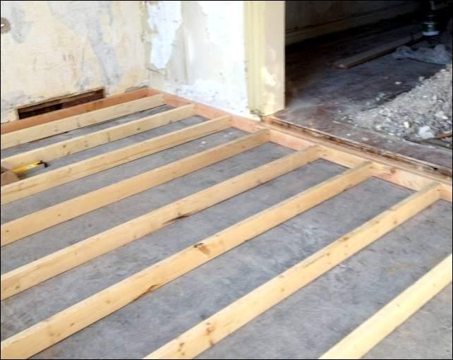 Укладка деревянного пола в гараже с бетонным основанием