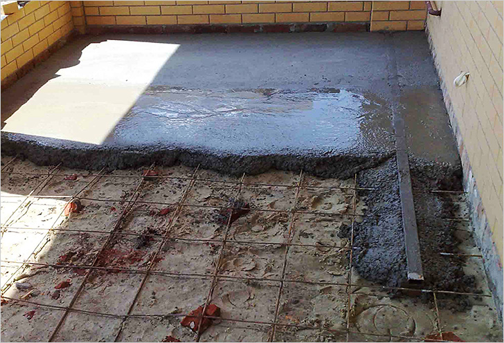 Заливка армированной стяжки бетоном