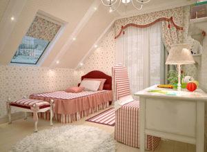 Детская комната для девочки во французском стиле на мансарде