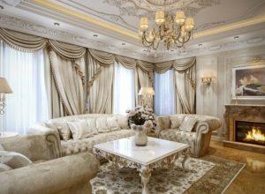 Французская гостиная с камином