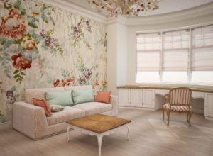 Гостиная с полукруглым панорамным окном в стиле прованс