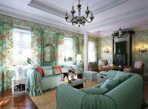 Пастельный оттенок бирюзы и розового в гостиной прованс