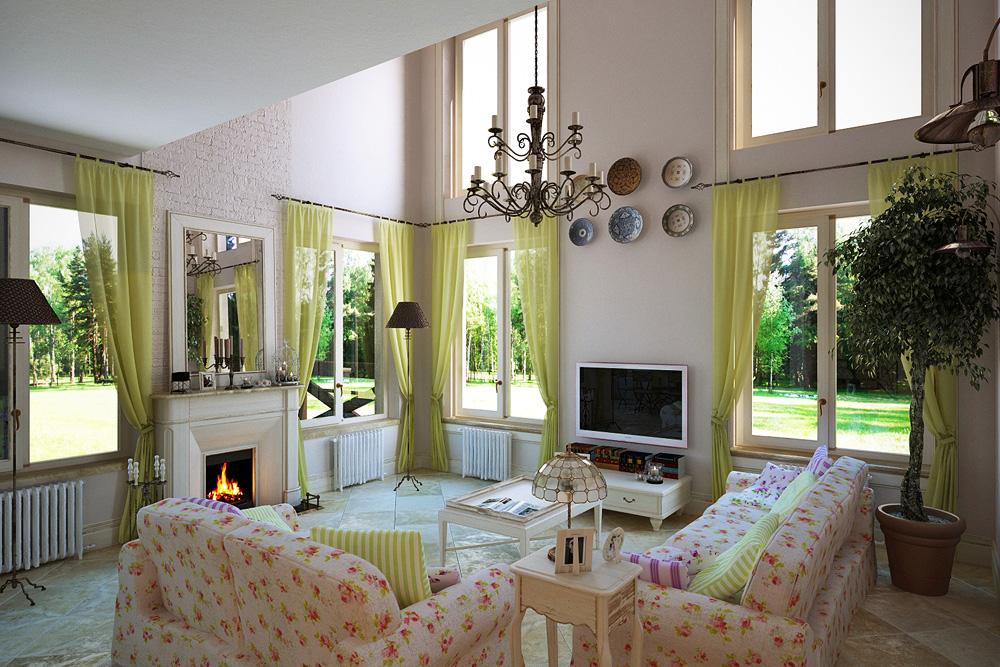 Гостиная в стиле прованс с жёлтыми шторами и мебелью с цветочным рисунком