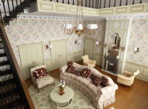 Гостиная во французском стиле в загородном доме
