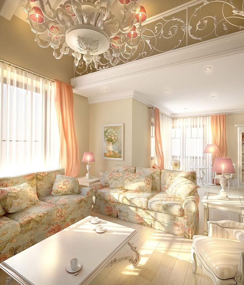 Гостиная в стиле прованс со светлой мебелью