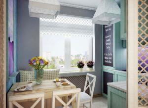 Кухня с римской шторой и подвесными светильниками в стиле прованс