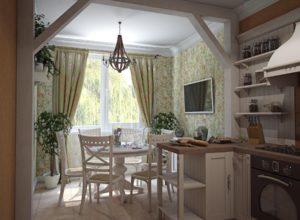 Обеденная зона в стиле прованс с растениями в напольных и настенных кашпо
