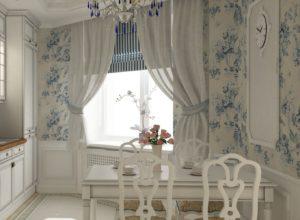 Кухня в стиле прованс с римской шторой и лёгкими занавесками