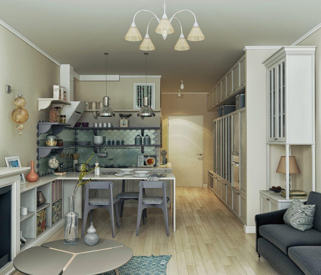 Квартира-студия прованс в бело-голубых тонах