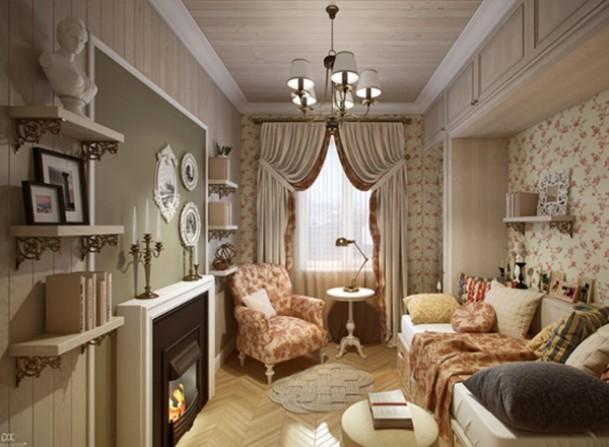 Маленькая квартира в стиле прованс с электрокамином