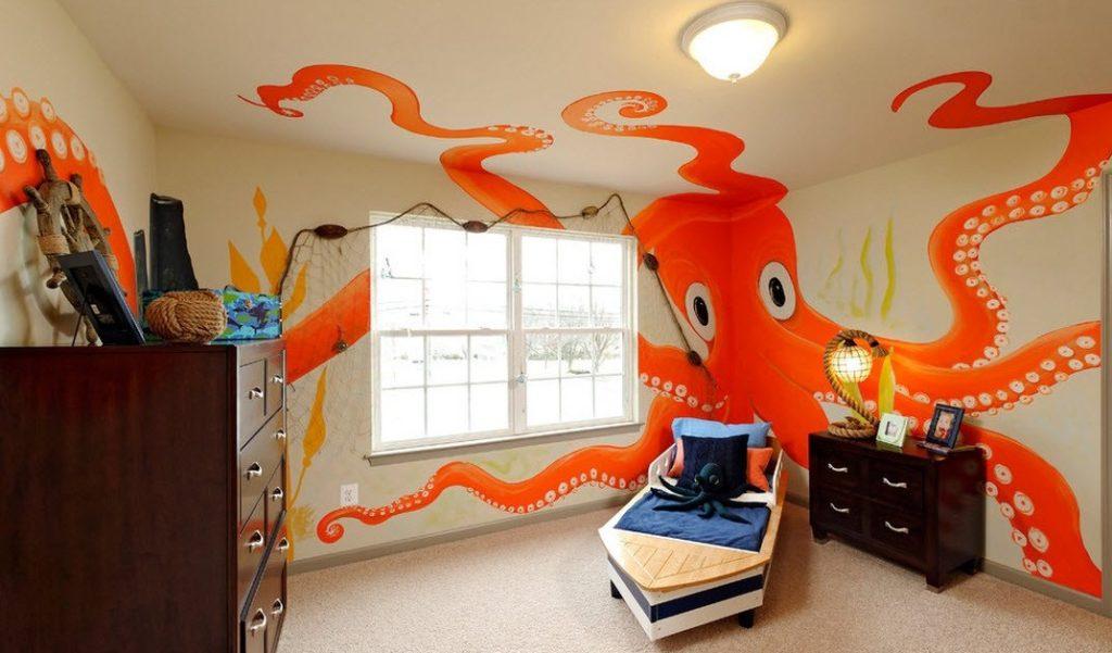 Огромный осьминог в детской морской тематики