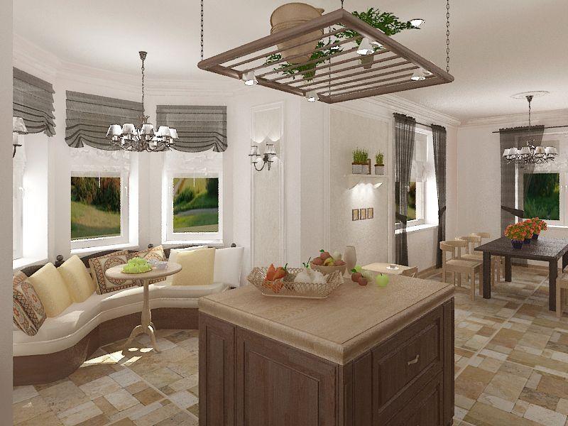 Кухня с римскими и обычными шторами в стиле прованс