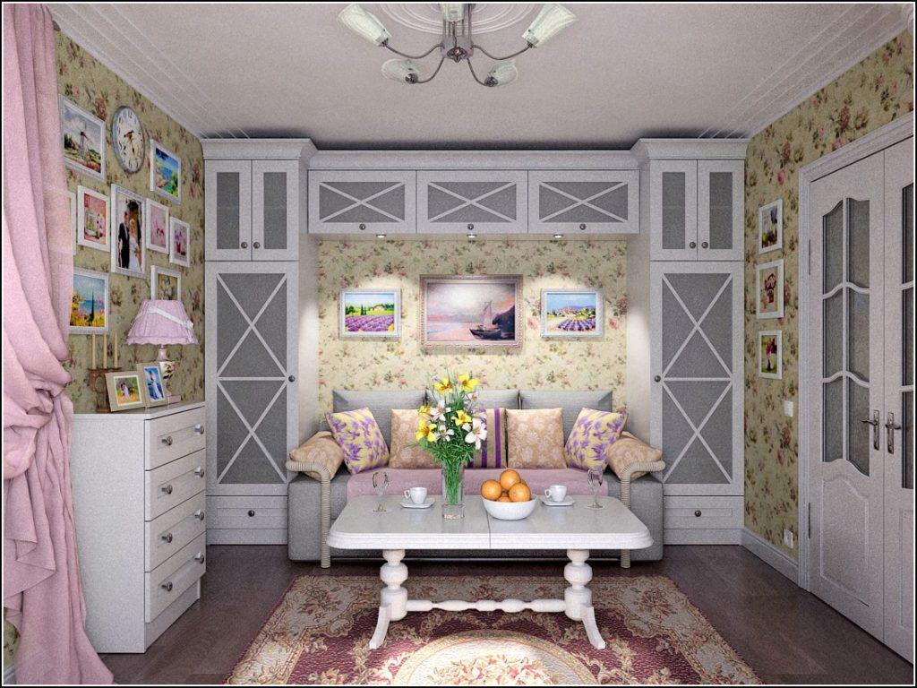 Потолок с розеткой и карнизом в стиле прованс