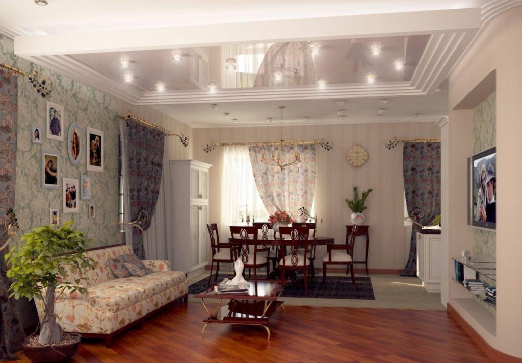 Гостиная с обеденным гарнитуром в стиле прованс