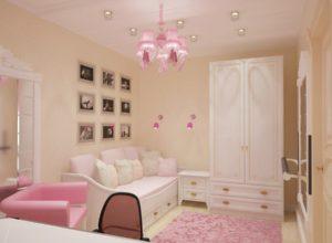 Розовая гостиная для девочки во французском стиле