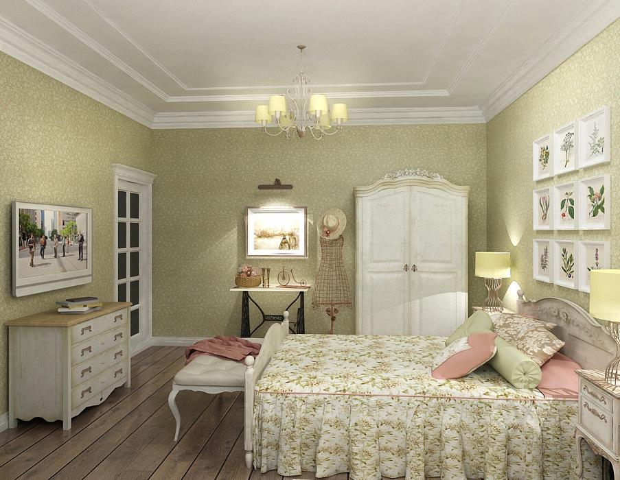 Спальня прованс с массивной кроватью и комодом