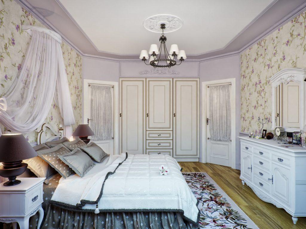 Обои и ковёр с цветочным принтом в спальне прованс