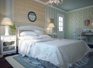 Спальня в стиле прованс с потолком лавандового цвета