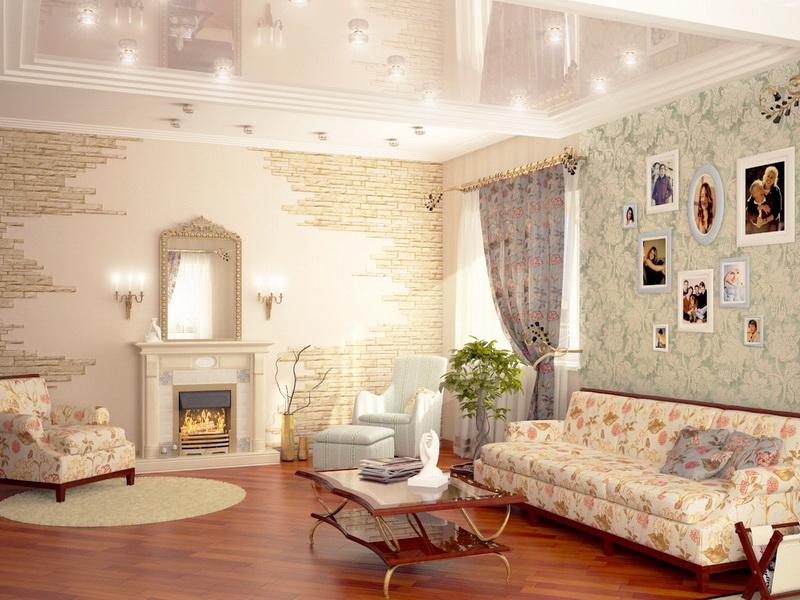 Обои, шторы и обивка мебели с цветочным принтом в интерьере гостиной в стиле прованс
