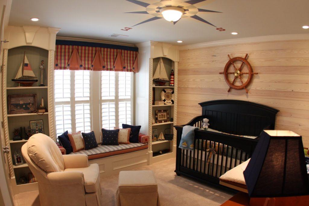Так может выглядеть потолок в детской комнате морского дизайна