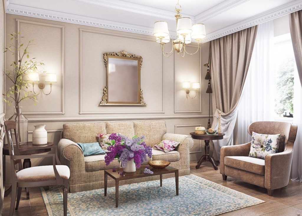 Гостиная в стиле прованс в бежево-лавандовых тонах