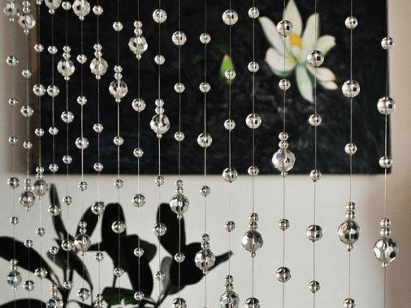 Нитяные шторы с декором
