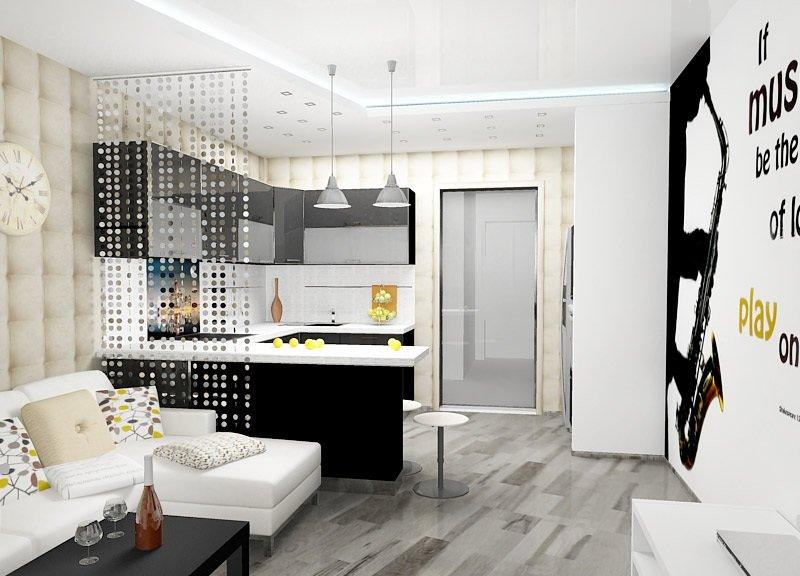 Зонирование кисеёй на кухне