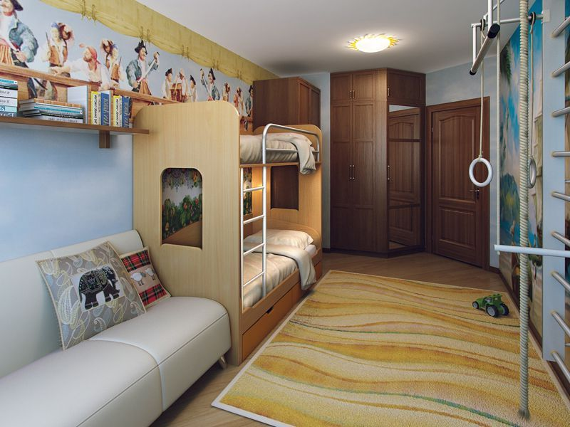 дизайн детской комнаты для двух мальчиков в том числе разного