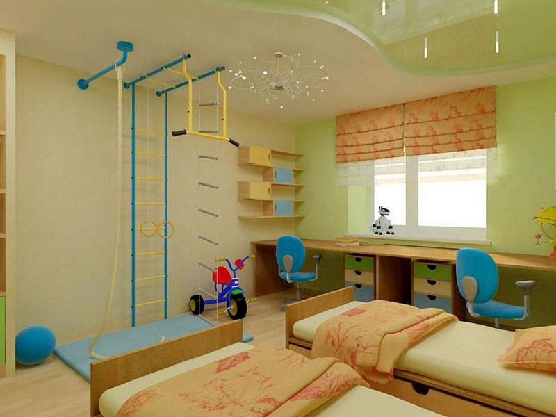 Светло-зелёная комната для мальчиков-дошкольников