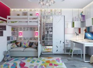 Белая комната с двухъярусной мебелью