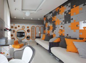 Серо-оранжевая комната для подростков