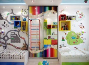 Необычная отделка стен в комнате для мальчиков