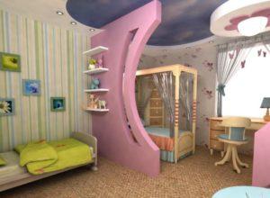 Розовая перегородка в детской комнате