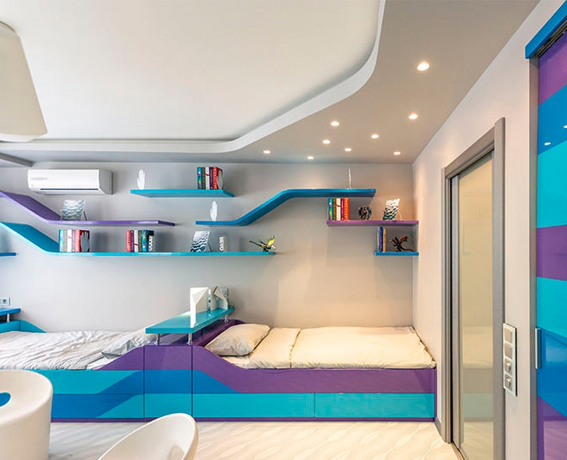 Необычное цветовое оформление комнаты для двух мальчиков-подростков