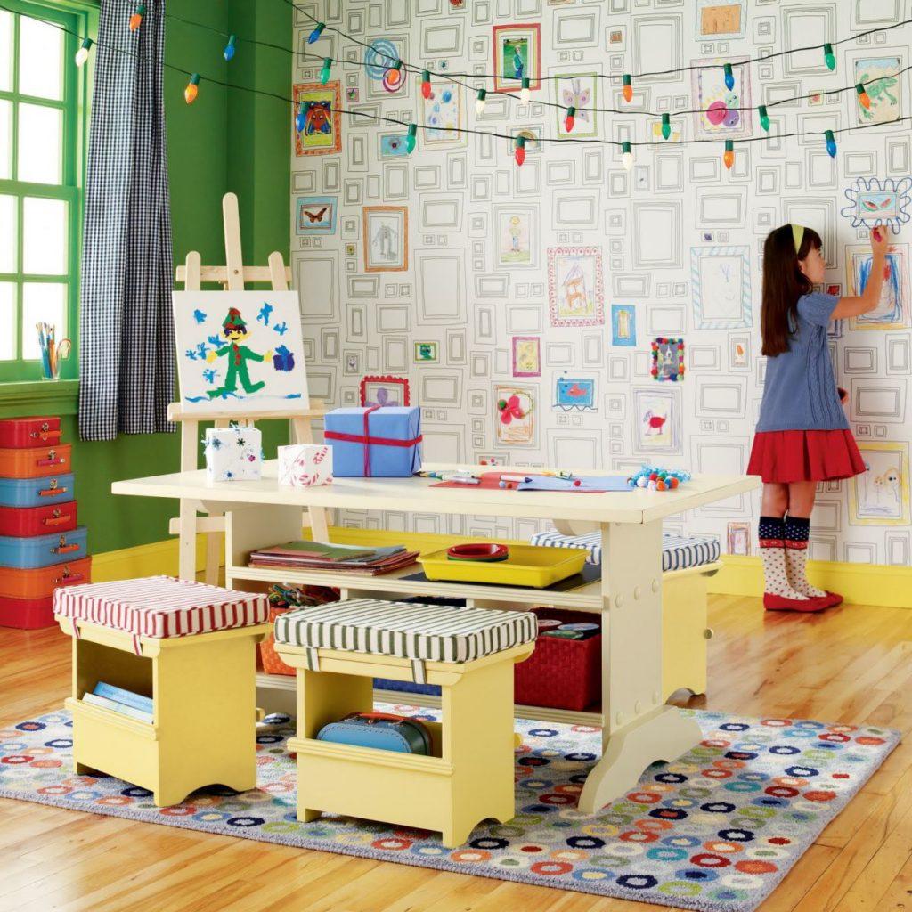Детская комната для двоих разнополых ребят с раскраской