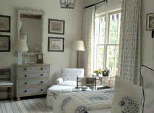 Серый цвет в спальне прованс