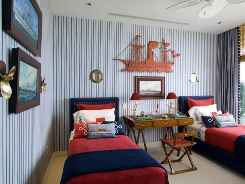 Полосатая комната для мальчиков