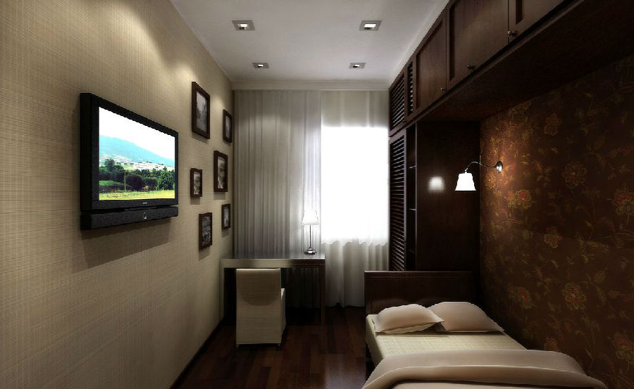 Белый потолок в узкой спальне