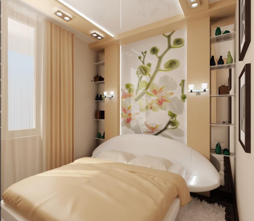 Цветовая гамма узкой спальни
