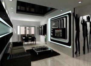 Чёрно-белая гостиная с использованием визуального декора